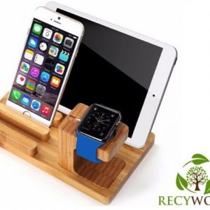 Bamboe Houten Docking Station Apple Watch, iPhone & iPad - 3 in 1 Laadstation