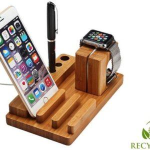 Bamboe Houten Docking Station Apple Watch, iPhone & iPad - 3 in 1 Laadstation