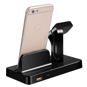 Docking Station Apple Watch & iPhone Zwart / Wit