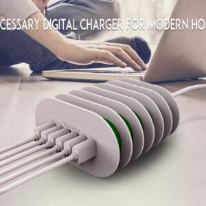 Premium Universele USB lader, 6 x 35W USB poorts, Desktop Lader, Charger, Snellader, 7A, 1.2Meter