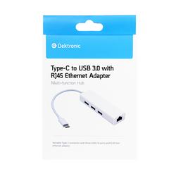 Type-C naar USB HUB 3.0 + Gigabit Ethernet LAN RJ45 internet aansluiting - Wit