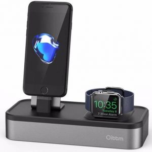 Oittm Aluminium Docking Station Apple Watch & iPhone + extra 3x USB poorten Grijs