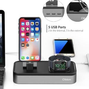 Oittm Aluminium Docking Station Apple Watch & iPhone + extra 3x USB poorten Grijs