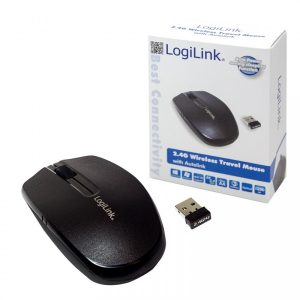 Logilink 2.4 GHz Mini Optical Draadloos Muis, 1200 dpi,BLACK (KBM-ID0114)