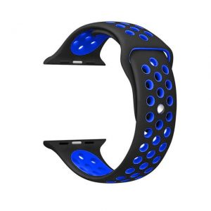 Apple Watch Silicone Sportband Hollow Edition Zwart-Blauw - Apple Watch Series 0/1/2/3/4