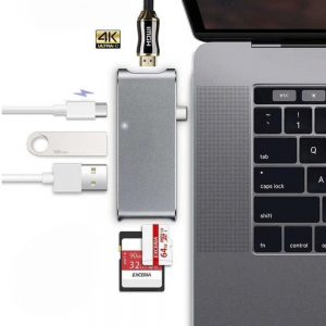 HyperDrive Alternatief USB-C 6 in 1 hub Grey - Macbook 12 inch + 13 inch Pro