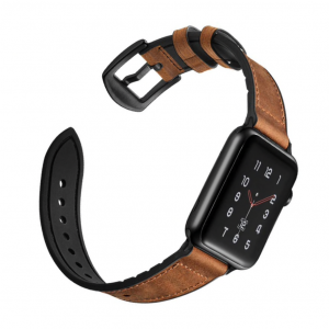 Apple Watch Leather Lederen Sportband Bruin - Apple Watch Series 0/1/2/3/4/5