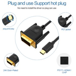 USB-C naar DVI kabel 1,8 meter