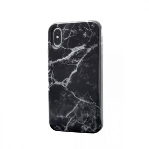 iPhone XR Marble Case Zwart/Wit