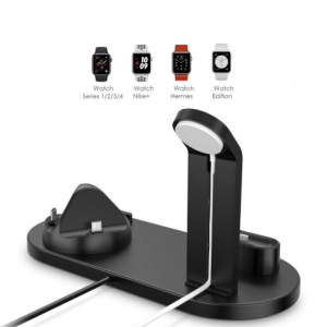3 in 1 Docking Station Apple Watch, iPhone, AirPods Pro en Android - Zwart/Wit