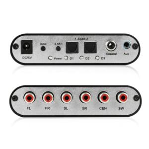 Digitaal naar Analog AC3 Optisch naar Stereo Surround HD 5.1 Audio Decoder 2 SPDIF Poorten HD Audio Rush