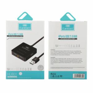 Earldom 4 Port USB 2.0 Hub - Zwart