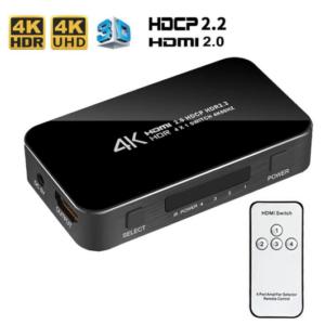 4K HDMI 2.0 switch splitter 4 poorts met afstandsbediening