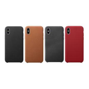 iPhone X Leren Backcover Case - Black/Grey/Berry/Saddle Brown
