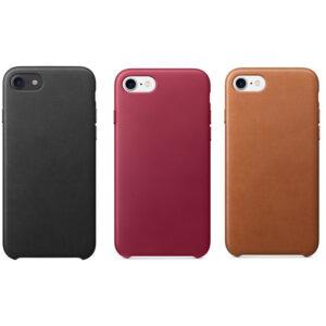 iPhone 7/8/SE 2020 Leren Backcover Case - Black/Berry/Saddle Brown