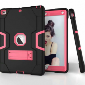 Extreme Army Protection Case voor iPad 9.7'' (2017-2018) - Zwart / Donkerblauw / Roze