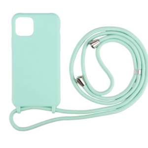 iPhone 12 Mini Anti Shock Hoesje Back Cover met Koord - Zwart/Roze/Groen/Blauw