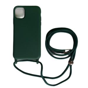 iPhone 12/12 Pro Anti Shock Hoesje Back Cover met Koord - Zwart/Groen/Blauw