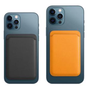 Leren kaarthouder iPhone 12 Magsafe Compatibel - Zwart/Bruin/Blauw
