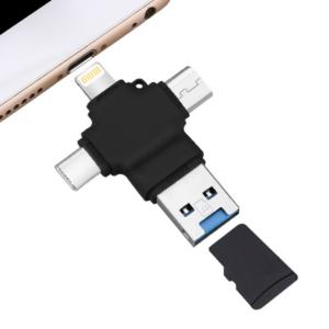 4 in 1 OTG Card Reader - USB/Micro USB/Lightning/USB-C/TF