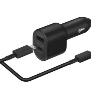 Samsung Dual Port Fast Charging Car Charger Autolader + USB-C Kabel (45W) - Zwart